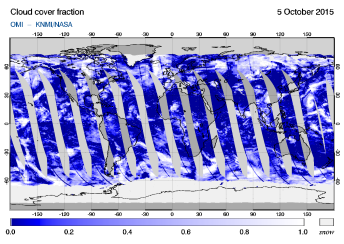 OMI - Cloud cover fraction of 05 October 2015