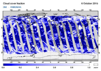 OMI - Cloud cover fraction of 06 October 2015