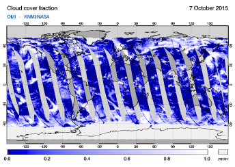 OMI - Cloud cover fraction of 07 October 2015