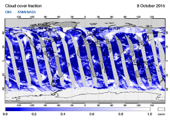 OMI - Cloud cover fraction of 08 October 2015