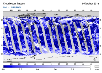 OMI - Cloud cover fraction of 09 October 2015