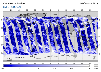 OMI - Cloud cover fraction of 10 October 2015