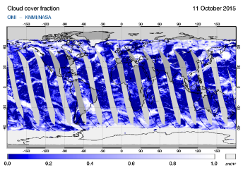 OMI - Cloud cover fraction of 11 October 2015