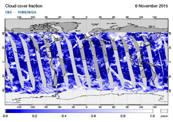 OMI - Cloud cover fraction of 06 November 2015