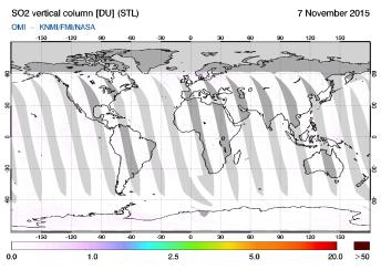 OMI - SO2 vertical column of 07 November 2015