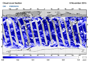 OMI - Cloud cover fraction of 08 November 2015