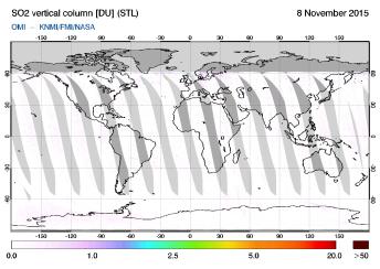 OMI - SO2 vertical column of 08 November 2015