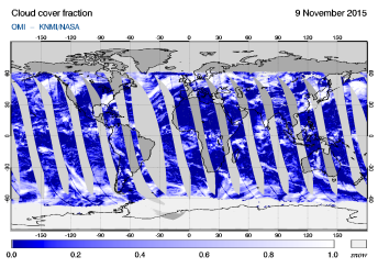 OMI - Cloud cover fraction of 09 November 2015