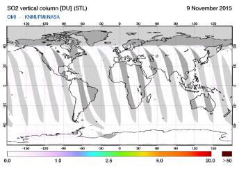 OMI - SO2 vertical column of 09 November 2015