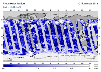 OMI - Cloud cover fraction of 10 November 2015