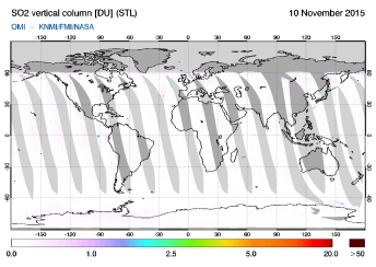 OMI - SO2 vertical column of 10 November 2015