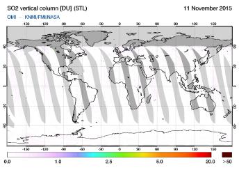 OMI - SO2 vertical column of 11 November 2015