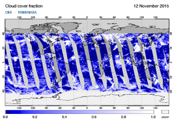 OMI - Cloud cover fraction of 12 November 2015