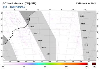 OMI - SO2 vertical column of 23 November 2015