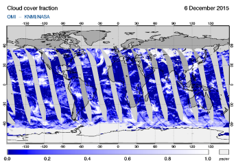 OMI - Cloud cover fraction of 06 December 2015