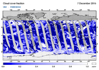OMI - Cloud cover fraction of 07 December 2015