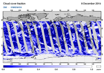 OMI - Cloud cover fraction of 08 December 2015