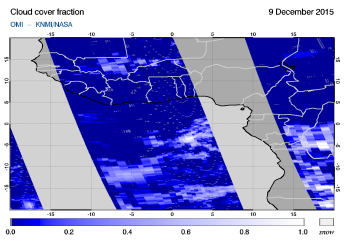 OMI - Cloud cover fraction of 09 December 2015