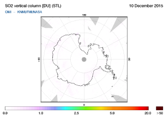 OMI - SO2 vertical column of 10 December 2015