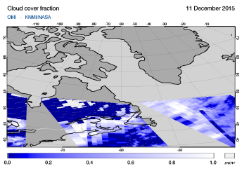 OMI - Cloud cover fraction of 11 December 2015