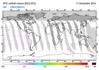 OMI - SO2 vertical column of 11 December 2015