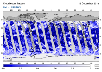 OMI - Cloud cover fraction of 12 December 2015