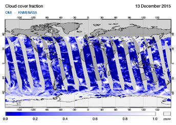 OMI - Cloud cover fraction of 13 December 2015