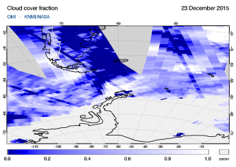OMI - Cloud cover fraction of 23 December 2015