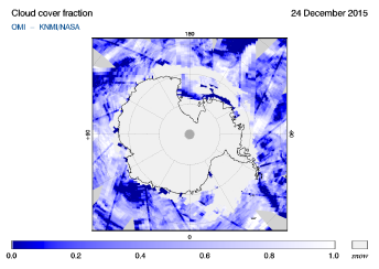 OMI - Cloud cover fraction of 24 December 2015