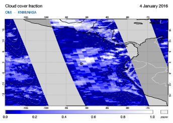 OMI - Cloud cover fraction of 04 January 2016