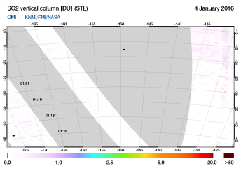 OMI - SO2 vertical column of 04 January 2016