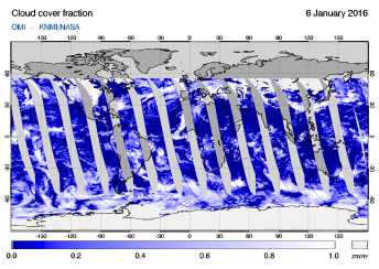 OMI - Cloud cover fraction of 06 January 2016