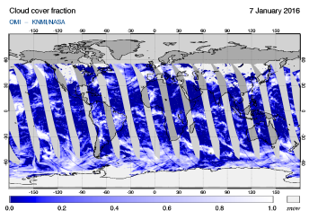 OMI - Cloud cover fraction of 07 January 2016