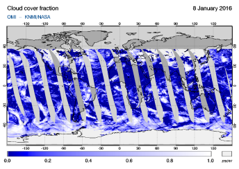 OMI - Cloud cover fraction of 08 January 2016
