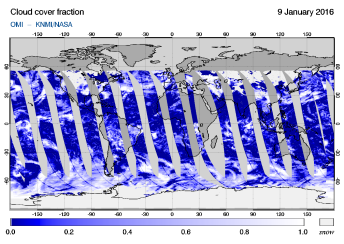 OMI - Cloud cover fraction of 09 January 2016