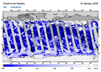 OMI - Cloud cover fraction of 10 January 2016