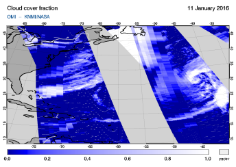 OMI - Cloud cover fraction of 11 January 2016
