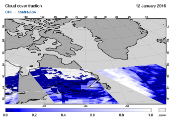 OMI - Cloud cover fraction of 12 January 2016