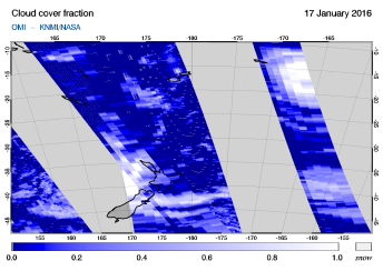 OMI - Cloud cover fraction of 17 January 2016