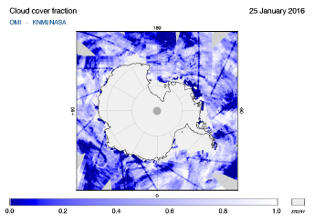 OMI - Cloud cover fraction of 25 January 2016