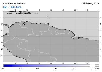 OMI - Cloud cover fraction of 04 February 2016