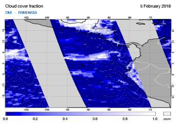 OMI - Cloud cover fraction of 05 February 2016