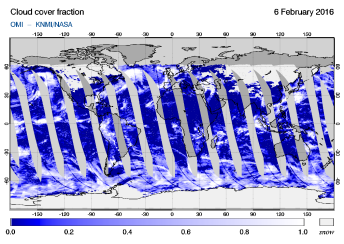 OMI - Cloud cover fraction of 06 February 2016