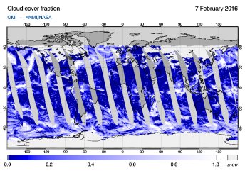 OMI - Cloud cover fraction of 07 February 2016