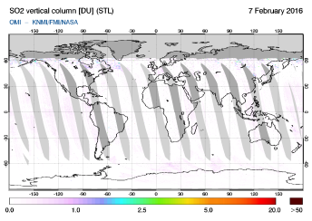 OMI - SO2 vertical column of 07 February 2016