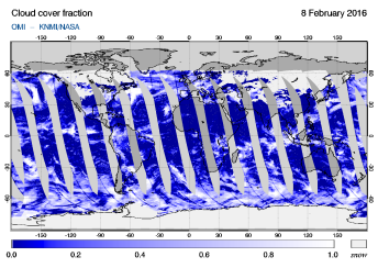 OMI - Cloud cover fraction of 08 February 2016