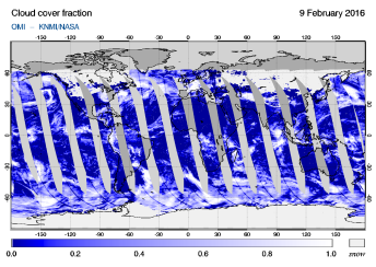 OMI - Cloud cover fraction of 09 February 2016