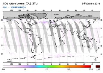 OMI - SO2 vertical column of 09 February 2016