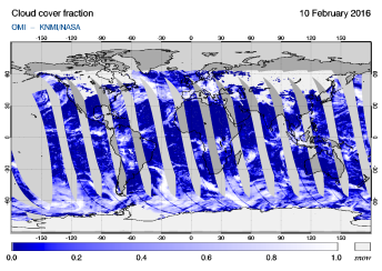 OMI - Cloud cover fraction of 10 February 2016