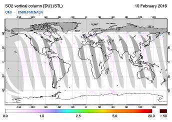 OMI - SO2 vertical column of 10 February 2016